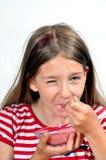 Girl Eat yogurt cheese Stock Photo