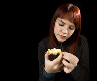 Girl eating apple. Royalty Free Stock Photo