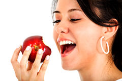 Girl eating an apple Royalty Free Stock Photos