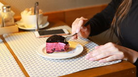 The girl eating blueberry cheescake in cafe by dessert plug. Indoor. stock footage