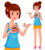 Girl eating cake. Young girl eating strawberry cake Stock Photography