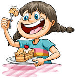A girl eating a cake. Young girl eating a cake on a white background royalty free illustration