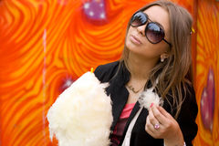 Girl Eating Candy Floss Royalty Free Stock Photos