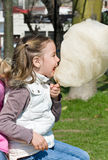 Girl eating candy-floss Royalty Free Stock Images