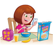 Girl Eating Cereal. Cartoon of a girl eating cereal and checking her cell phone with her lunch bag, orange juice, banana and cereal box on the table Stock Image