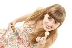 Girl eating chips Stock Photo