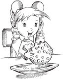 Girl Eating Cookie Sketch Stock Photography