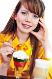 Girl eating dessert Stock Photos