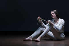 Girl with eating disorder Stock Photography
