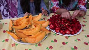 Girl Eating Fresh Fruits stock video footage