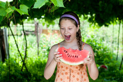 Girl eating fresh watermelon. Summer joy, lovely girl eating fresh watermelon, happy child concept royalty free stock photo
