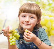Girl eating grapes in the vineyards Stock Photos