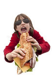 Girl eating hamburger Royalty Free Stock Photos