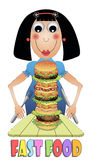 Girl eating hamburger Stock Photo