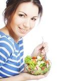 Girl eating healthy food stock photos