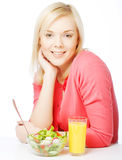 Girl eating healthy food royalty free stock photos