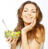 Girl eating healthy food Stock Image