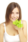Girl eating healthy salad Stock Photography