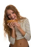 Girl eating hot dog Stock Photo