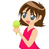 Girl Eating Ice-cream. Girl eating an ice-cream on a white background Stock Photos