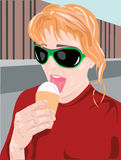 Girl Eating Ice Cream Cone. Illustration of a girl wearing sunglasses eating an ice cream cone Royalty Free Stock Photos