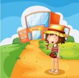 A girl eating an ice cream near the school. Illustration of a girl eating an ice cream near the school Stock Photos