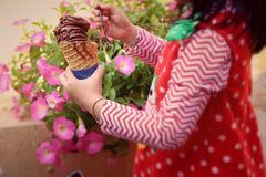 Girl eating ice cream stand. Royalty Free Stock Images