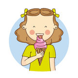 Girl eating ice cream Stock Images