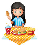 A girl eating. Illustration of a girl eating on a white background Stock Photos
