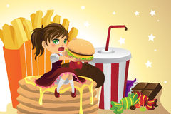 Girl eating junk food. A vector illustration of a girl eating junk food Stock Image