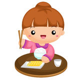Girl eating. A little girl eating rice stock illustration