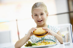 Girl Eating Lunch At A Cafe Stock Photos