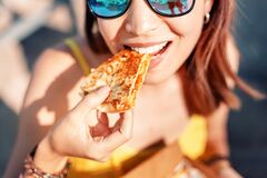 Free Girl Eating Mexican Fast Food Quesadilla On The Beach. Healthy And Tasty Snack Stock Photography - 172284782