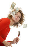 Girl eating money Royalty Free Stock Image