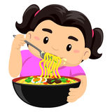 Girl eating noodles using fork Stock Photos