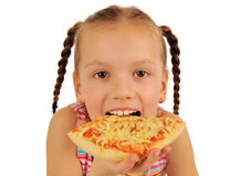 Girl eating  pizza Royalty Free Stock Photo