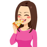 Girl Eating Pizza. Young beautiful happy girl eating a slice of pizza royalty free illustration