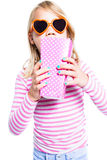 Girl eating pop corn Stock Photo