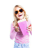Girl eating pop corn Royalty Free Stock Photography
