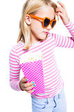 Girl eating pop corn Royalty Free Stock Photo