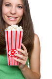 Girl Eating Popcorn Stock Images