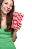 Girl Eating Popcorn Stock Photos