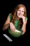 Girl Eating Popcorn Stock Image