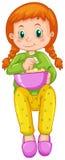 Girl eating popcorn alone. Illustration Stock Images