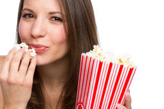 Girl Eating Popcorn Stock Image