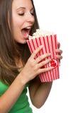 Girl Eating Popcorn Royalty Free Stock Image