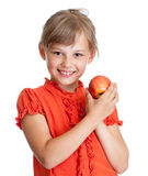 Girl Eating Red Apple Isolated Stock Photos