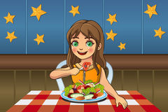 Girl Eating Salad royalty free illustration