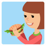 Girl eating sandwich. Vector illustration on theme fast food. Royalty Free Stock Photo