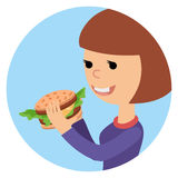 Girl eating sandwich. Vector illustration on theme fast food. Royalty Free Stock Image